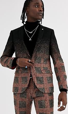 Twisted Tailor Giacca da abito super skinny a quadri grigio sfumato