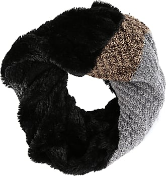 Sakkas 16109 - Julie Short Wrap Around Two Sided Faux Fur And Ribbed Knit Infinity Scarf - Black/Grey - OS