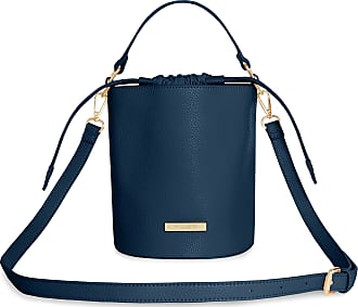 Katie Loxton Amara Womens Vegan Leather Convertible Handle Bucket Cross Body Bag Navy