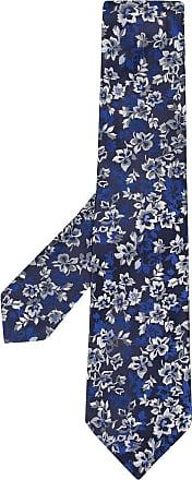 Kiton Gravata jacquard floral - Azul