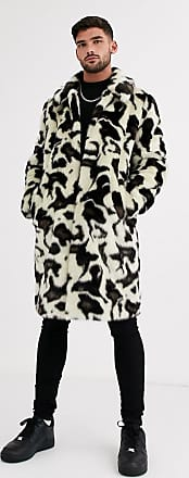 Urban Code faux fur snow leopard overcoat-White