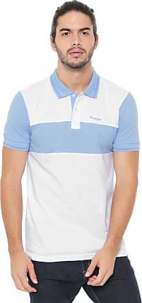 Wrangler Camisa Polo Wrangler Reta Recortes Branca/Azul