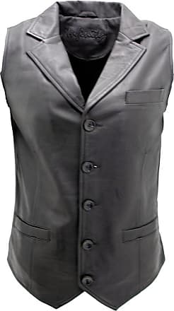 Infinity Mens Classic Smart Black Leather Waistcoat 2XL