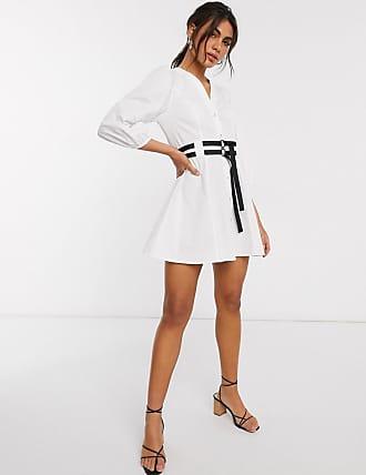 Asos Vestito corto in popeline di cotone con maniche a sbuffo e cintura-Bianco