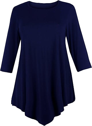 Re Tech UK Ladies Three Quarter Sleeve V Cut Round Neck Baggy Loose Swing Dress Tunic Top Navy Blue - M/L 12-14
