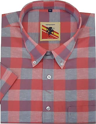 Espionage Esiponage Mens Cotton Linen Mix Shirt (231) in Coral Check in Size 3XL