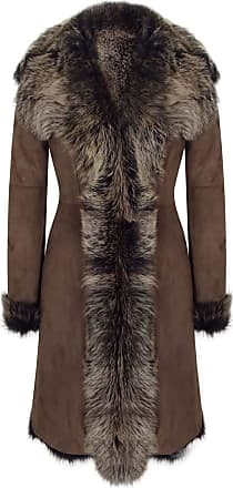 Infinity Ladies Women Gold Brown 3/4 Length Warm Luxury Toscana Sheepskin Coat - Brown-Gold, 2XL - 18