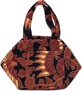 Novica Beaded cotton batik handbag, Black Peacock