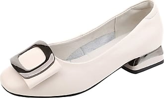 Jamron Womens Fashion Square Toe Chunky Heel Smooth Leather Pumps Shoes White SN02850 UK5.5