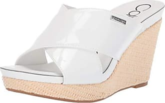 c31346499 Calvin Klein Womens JACOLYN Wedge Sandal White Patent 5 M US