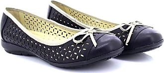Boulevard Julia Perforated Bow Ballerina Comfort Sock Summer Shoes - Black PU, Ladies UK 7 / EU 40