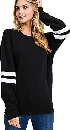 Dresswel Women Striped Colorblock Sweatshirt Long Sleeve Top Pullover Jumper Blouse with Warm Fleece Black