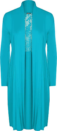 WearAll Ladies Plus Size Lace Back Cardigan Womens Long Sleeve Stretch Pleat Top Turquoise 20/22