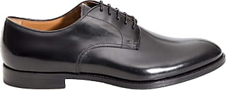 Doucal's Black Polished Leather Derby Shoes, 40.5
