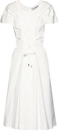2f18c4fc9a7a Carven Carven Woman Lace-up Shirred Cotton-poplin Midi Dress White Size 36