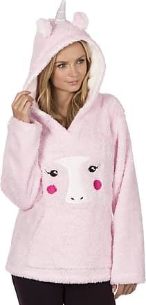 Forever Dreaming Ladies Fleece Animal Motif Hooded Tops. Pink Unicorn or Cream Panda.. Sizes S M L XL (XL 16-18 (EUR 44-46), PINK UNICORN)