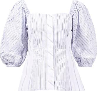 Ganni Off-Shoulder Bluse mit Streifen Blau/Weiß 100% Baumwolle