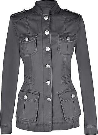 Noroze Ladies Military Style Summer Jacket (18(46), Silver Button Dark Grey)