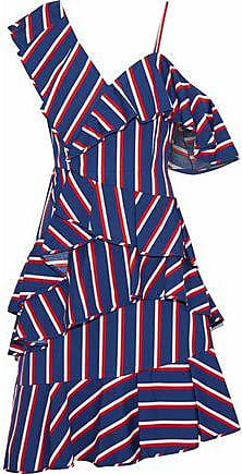 Alice & Olivia Alice + Olivia Woman Asymmetric Ruffled Striped Cotton-poplin Dress Blue Size 12