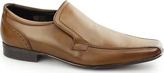 Ikon Saxon Mens Slip On Leather Chisel Toe Shoes Tan UK 9