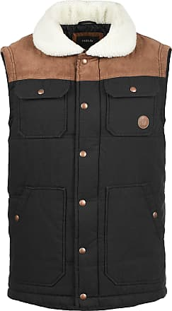 Solid Ferdi Mens Quilted Gilet Vest Body Warmer with Teddy Fur Collar, Size:XXL, Colour:Black (9000)