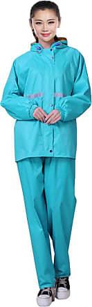 Daytwork Waterproof Raincoat Suit - Women Men Hooded Rain Jacket + Trouser Set Thickened Double Rainwear with Reflective Strips for Outdoor Camping Fishing Blu
