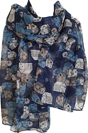 GlamLondon Womens Little Town Print Scarf Classic House Holiday Sun Summer Fashion Light Wrap (Blue)