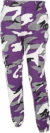 junkai Women Camouflage Pants - Ladies Loose Leisure Multi-Pocket Jeans Military Army Camouflage Sports Jogging Trousers Purple M