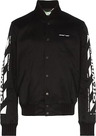 Off-white striped sleeve logo print bomber jacket - Black