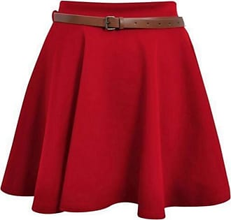 Top Fashion18 Womens Plus Belted Skater Skirt Ladies Short Flared Flippy Ponte Mini Party Skirt 8-22