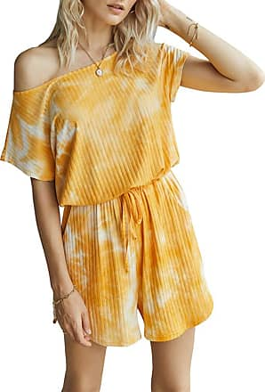 QIYUN.Z Sexy Round Neck Short Sleeve Drawstring Waist Jumpsuit Romper Orange M