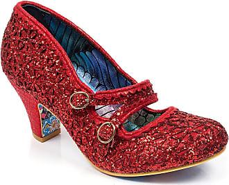 Irregular Choice Womens Dazzle Dance Velvet Glitter Buckle Court Shoe - Red - 6.5