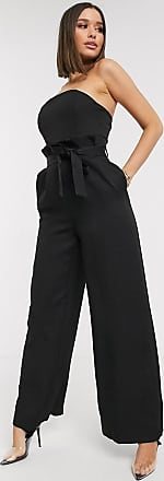 Missguided bandeau paperbag wide leg jumpsuit in black