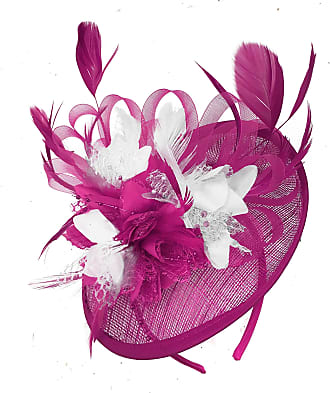Caprilite Fuchsia Hot Pink and White Sinamay Disc Saucer Fascinator Hat for Women Weddings Headband