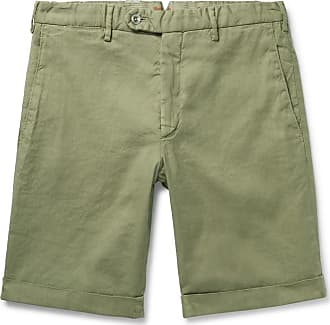Zanella Chase Stretch Linen And Cotton-blend Shorts - Sage green