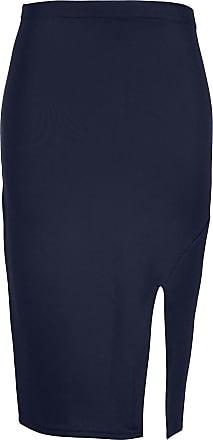 Be Jealous Womens Side Split Midi Skirt Ladies Smart Casual Pencil Wiggle Stretchy Bodycon Plus Size (UK 16/18) Navy