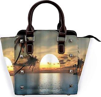 Browncin Sunset Afterglow Sunset Glow Palm Tree Beach Seaside Beautful Vacation Scenery Detachable Fashion Trend Ladies Handbag Shoulder Bag Messenger Bags