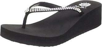 Yellow Box Womens Custard Wedge Flip Flop, Black, 8.5 M US