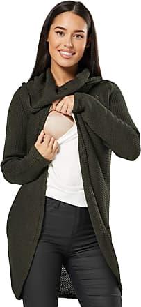 Happy Mama Happy Mama. Womens Maternity Nursing Wrap Knitted Layered Jumper Pullover. 359p (Khaki, UK 10/12, ONE Size)