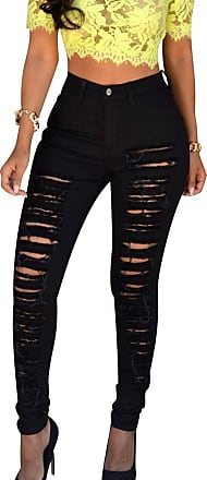 Isshe Ripped Skinny Jeans Womens High Waisted Jeans High Rise Stretch Trousers Petite Jeans Pants For Women Slim Fit Trouser Ladies Stretchy Distressed Deni