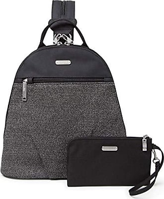 Baggallini Anti-Theft Backpack - Stylish Carry-on Travel Bag With Locking Zippers and RFID-Protected Wristlet, Black and Gray Design