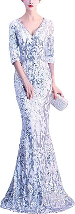 1b5086c199 Kaxidy Women Dress Sequin Beaded Evening Party Maxi Dresses Long Cocktail  Dresses (Silver/White