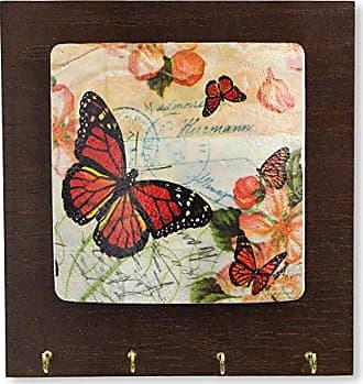 Novica 252865 Monarch Greetings Wood Key Holder