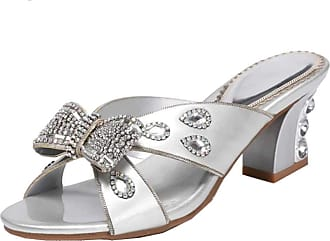 Find Nice Ladies Knot Rhinestones Sandals Wedding Slippers Unique Dress Bride Party Chunky Heel OL Sandals Silver 5.5 UK