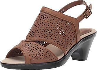 Easy Street Womens Linda Slingback Dress Casual Sandal with Cutouts Sandal, Tan, 6 W US
