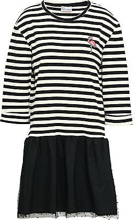 Red Valentino Redvalentino Woman Appliquéd Striped Cotton-blend And Point Desprit Mini Dress Off-white Size S