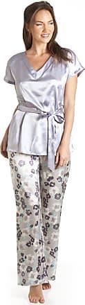 Camille Womens Nightwear Grey Floral Satin Pyjama Set 16