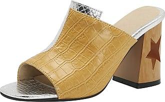 Mediffen Women Block High Heels Slides Sandals Open Toe Fashion Snakeskin Mule Slippers Slip On Summer Outdoor Slippers Yellow Size 42 Asian