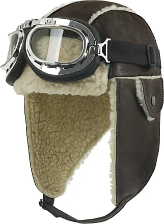Ililily Aviator Hat Winter Snowboard Fur Ear Flaps Trooper Trapper Pilot Goggles, Dark Brown/Beige