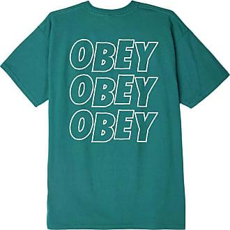Obey Mens Jumbled Eyes Basic Tee T-Shirt, Teal, XL